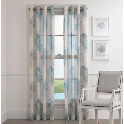 Buy Sheer 84-Inch Window Curtain Panel in Blue from Bed Bath & Beyond
