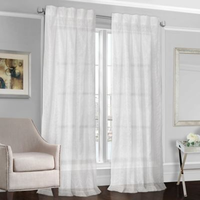 select peyton 63inch back tab sheer window curtain panel in white