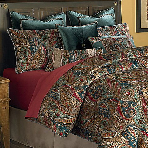 michael amini madrid reversible european pillow sham in teal
