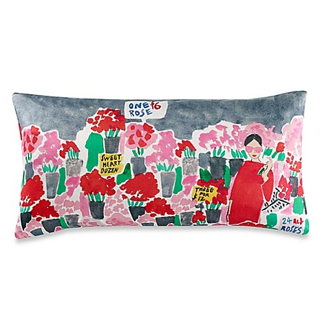 Kate spade new york flower market oblong throw pillow in for Bed bath and beyond kate spade