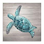 Beau Sea Turtle Wood Panel Wall Art