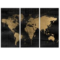 The Oliver Gal Artist Co. Mapamundi Gold Triptych Canvas Wall Art (Set of 3)