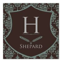 Damask Family Crest Monogram Canvas Wall Art