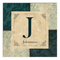 Traditional Monogram Canvas Wall Art in Teal