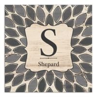 Family Leafies Monogram Canvas Wall Art in Grey