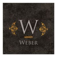 Golden Damask Scroll Monogram Canvas Wall Art