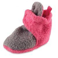 BabyVision® Luvable Friends™ Size 0-6M Scooties Fleece Booties in Pink/Grey