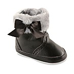 BabyVision® Luvable Friends™ Size 0-6M Fur Trimmed Winter Boot in Black