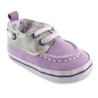 BabyVision® Luvable Friends™ Size 0-6M Boat Shoe in Silver/Lilac