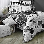 Passport London and Paris Reversible Twin/Twin XL Comforter Set in Black/White