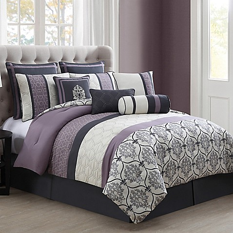 purple black grey bedroom darla 10 comforter set in purple grey bed bath 16855