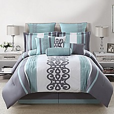 Kerri 10-Piece Comforter Set in Teal/Silver/White