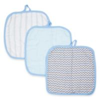 MiracleWare Muslin 3-Pack Baby Washcloth Set in Blue
