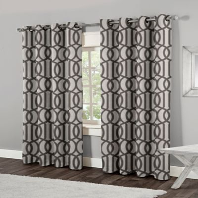 Trincity 84 Inch Grommet Top Window Curtain Panel Pair In Black Pearl