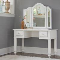NE Kids Lake House Writing Desk and Vanity Mirror Set in White