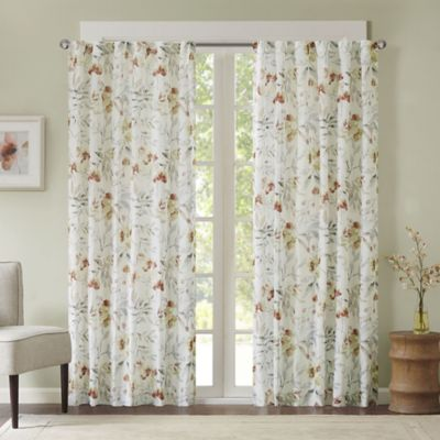 Great Meg Floral 95 Inch Rod Pocket/Back Tab Window Curtain Panel