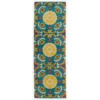 Kaleen Global Inspirations Floral Tile 2-Foot 6-Inch x 8-Foot Runner in Turquoise