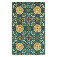 Kaleen Global Inspirations Floral Tile 3-Foot 6-Inch x 5-Foot 6-Inch Area Rug in Turquoise