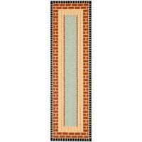 Safavieh Four Seasons Brick 2-Foot 3-Inch x 8-Foot Indoor/Outdoor Runner in Brown/Blue