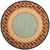 Safavieh Four Seasons Brick 6-Foot Round Indoor/Outdoor Area Rug in Brown/Blue