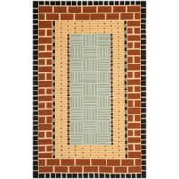 Safavieh Four Seasons Brick 8-Foot x 10-Foot Indoor/Outdoor Area Rug in Brown/Blue