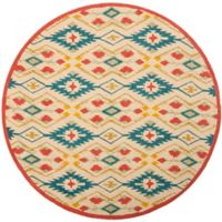 Safavieh Four Seasons Southwestern 4-Foot Round Indoor/Outdoor Area Rug in Natural/Blue