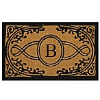 "Nature by Geo Crafts Bristol 18-Inch x 30-Inch Monogrammed Letter ""B"" Door Mat in Natural Black"