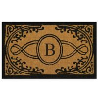 "Nature by Geo Crafts Bristol 18-Inch x 30-Inch Monogrammed Letter ""B"" Doormat in Natural Black"