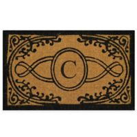 "Nature by Geo Crafts Bristol 18-Inch x 30-Inch Monogrammed Letter ""C"" Doormat in Natural Black"