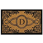 "Nature by Geo Crafts Bristol 18-Inch x 30-Inch Monogrammed Letter ""D"" Door Mat in Natural Black"