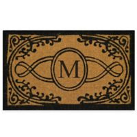 "Nature by Geo Crafts Bristol 18-Inch x 30-Inch Monogrammed Letter ""M"" Doormat in Natural Black"