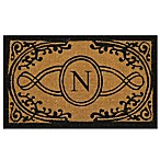 "Nature by Geo Crafts Bristol 18-Inch x 30-Inch Monogrammed Letter ""N"" Door Mat in Natural Black"