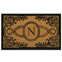 "Nature by Geo Crafts Bristol 18-Inch x 30-Inch Monogrammed Letter ""N"" Doormat in Natural Black"