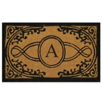 "Nature by Geo Crafts Bristol 18-Inch x 30-Inch Monogrammed Letter ""A"" Doormat in Natural Black"
