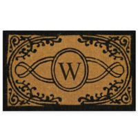 "Nature by Geo Crafts Bristol 18-Inch x 30-Inch Monogrammed Letter ""W"" Doormat in Natural Black"