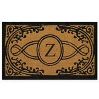 "Nature by Geo Crafts Bristol 18-Inch x 30-Inch Monogrammed Letter ""Z"" Doormat in Natural Black"