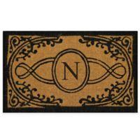 "Nature by Geo Crafts Bristol 22-Inch x 36-Inch Monogrammed Letter ""N"" Doormat in Natural Black"