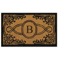 "Nature by Geo Crafts Bristol 22-Inch x 36-Inch Monogrammed Letter ""B"" Doormat in Natural Black"