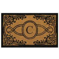 "Nature by Geo Crafts Bristol 22-Inch x 36-Inch Monogrammed Letter ""C"" Doormat in Natural Black"