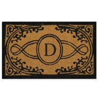"""Nature by Geo Crafts Bristol 22-Inch x 36-Inch Monogrammed Letter """"D"""" Doormat in Natural Black"""