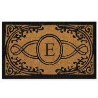 """Nature by Geo Crafts Bristol 22-Inch x 36-Inch Monogrammed Letter """"E"""" Doormat in Natural Black"""