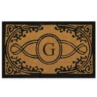 "Nature by Geo Crafts Bristol 22-Inch x 36-Inch Monogrammed Letter ""G"" Doormat in Natural Black"