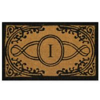 """Nature by Geo Crafts Bristol 22-Inch x 36-Inch Monogrammed Letter """"I"""" Doormat in Natural Black"""