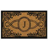 "Nature by Geo Crafts Bristol 22-Inch x 36-Inch Monogrammed Letter ""J"" Doormat in Natural Black"