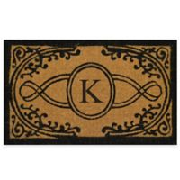 "Nature by Geo Crafts Bristol 22-Inch x 36-Inch Monogrammed Letter ""K"" Doormat in Natural Black"