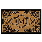"Nature by Geo Crafts Bristol 22-Inch x 36-Inch Monogrammed Letter ""M"" Door Mat in Natural Black"