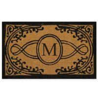 "Nature by Geo Crafts Bristol 22-Inch x 36-Inch Monogrammed Letter ""M"" Doormat in Natural Black"