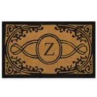 "Nature by Geo Crafts Bristol 22-Inch x 36-Inch Monogrammed Letter ""Z"" Doormat in Natural Black"