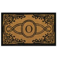"""Nature by Geo Crafts Bristol 22-Inch x 36-Inch Monogrammed Letter """"O"""" Doormat in Natural Black"""