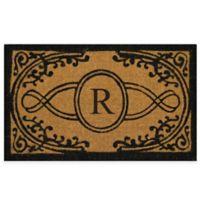"Nature by Geo Crafts Bristol 22-Inch x 36-Inch Monogrammed Letter ""R"" Doormat in Natural Black"